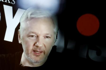 El fundador de WikiLeaks, Julian Assange, habla por videoconferencia con motivo del décimo aniversario de WikiLeaks, en Berlín